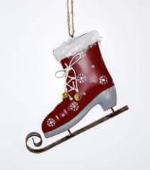 DUE ESSE božični okrasek - drsalka, rdeča, 14 cm