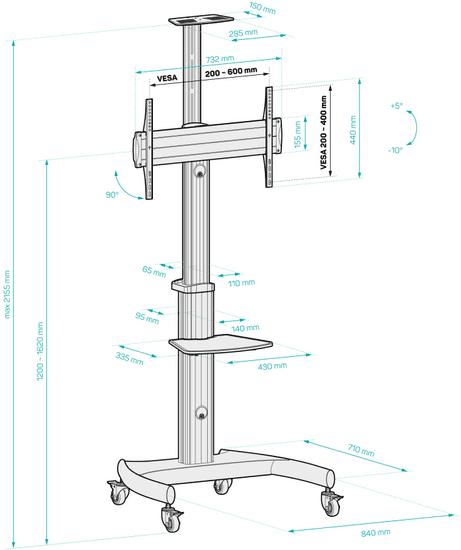 """Connect IT mobilny stojak i pojedynczy uchwyt na telewizor Wheelie II 37"""" - 75"""", srebrny, CMH-9300-SL"""