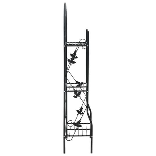 shumee 3-poziomowy regał na kwiaty, czarny, 52x28x128 cm, żelazo