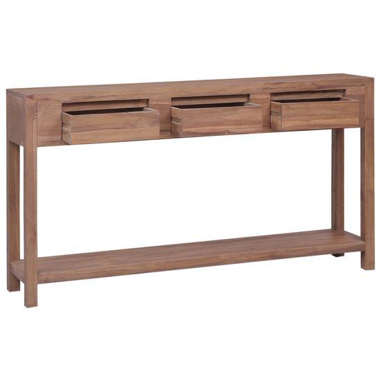 shumee Konzolový stolík 145x30x80 cm teakový masív