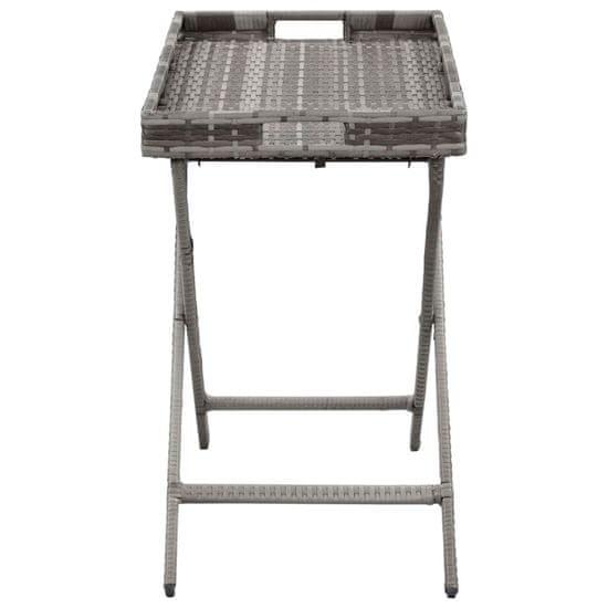 shumee Zložljiva mizica siva 80x45x75 cm poli ratan