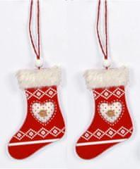 DUE ESSE lesen škorenj s srcem, božični okrasek, rdeč, 2 kosa