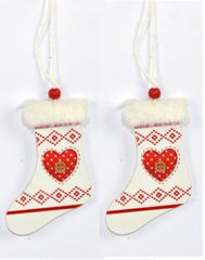 DUE ESSE lesen škorenj s srcem, božični okrasek, bel, 2 kosa