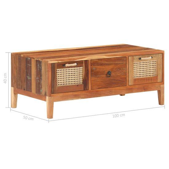 shumee tömör újrahasznosított fa dohányzóasztal 100 x 50 x 40 cm