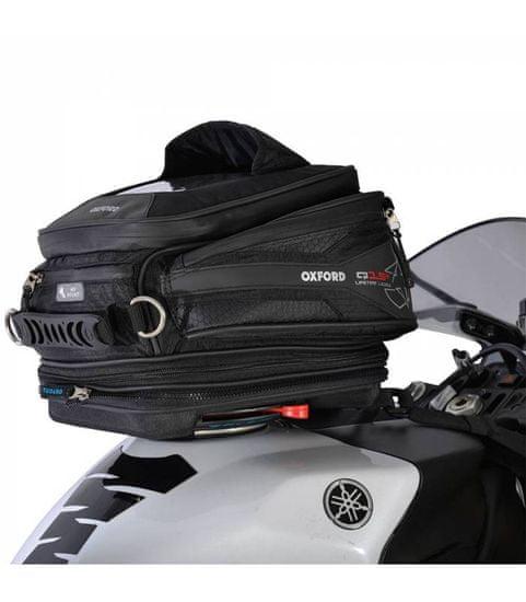 Oxford Tankbag na motocykl Q15R QR, OXFORD (černý, s rychloupínacím systémem na víčka nádrže, objem 15 l)