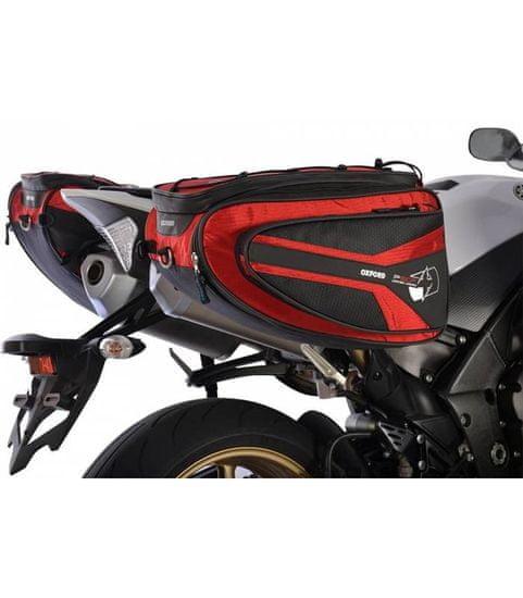 Oxford Boční brašny na motocykl P50R, OXFORD (černé/červené, objem 50 l, pár)