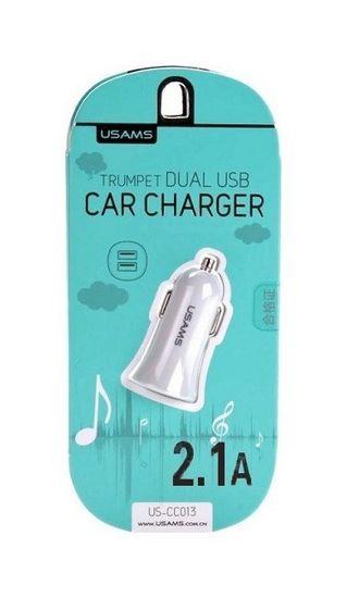 USAMS Autodobíječ Trumpet CC013 Dual 2.1 A bílý 25576