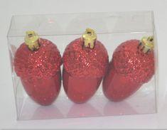 DUE ESSE komplet božičnih okraskov – želod, rdeč, 8 cm, 3 kosi