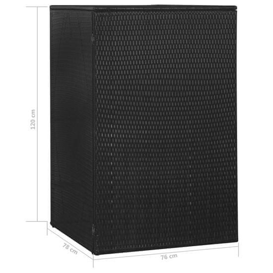 shumee fekete polyrattan gurítható kukatároló 1 db kukához 76x78x120cm
