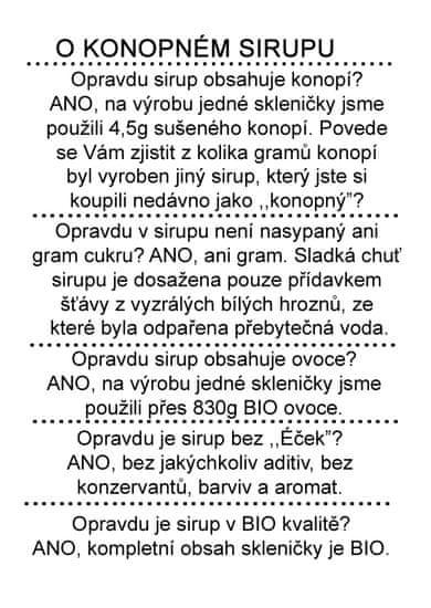 Dr. Hlaváč BIO Sirup Konopí 320 g BEZ přídavku CUKRU