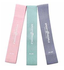 Sport2People elastike za vadbo, bombažne, 3 kosi, barvne