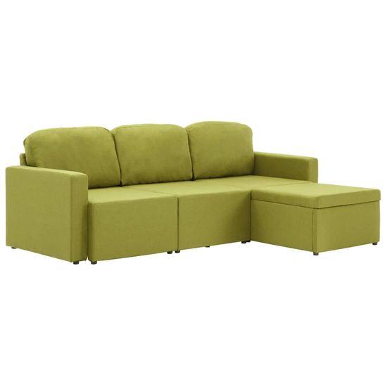 slomart Trosed modularni kavč z ležiščem zelen iz blaga