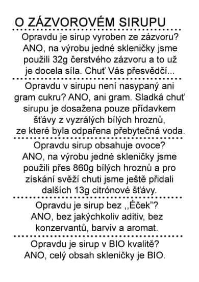 Dr. Hlaváč BIO Sirup Zázvor 320 g BEZ přídavku CUKRU