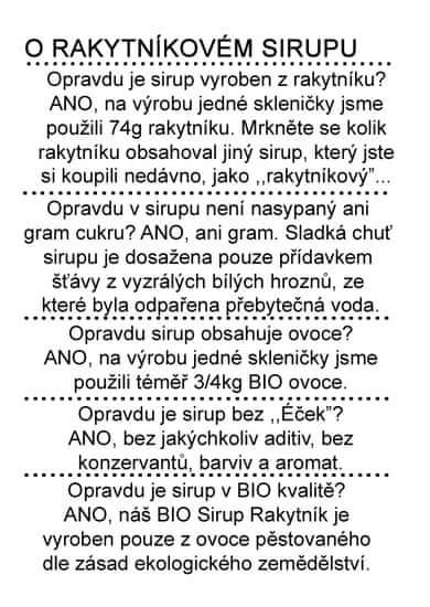 Dr. Hlaváč BIO Sirup Rakytník 310 g BEZ přídavku CUKRU