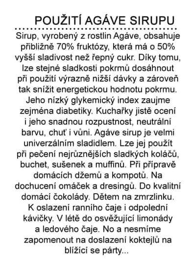 Dr. Hlaváč BIO Sirup Agáve 350 g BEZ přídavku CUKRU