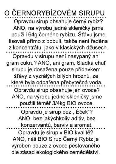 Dr. Hlaváč BIO Sirup Černý rybíz 320 g BEZ přídavku CUKRU