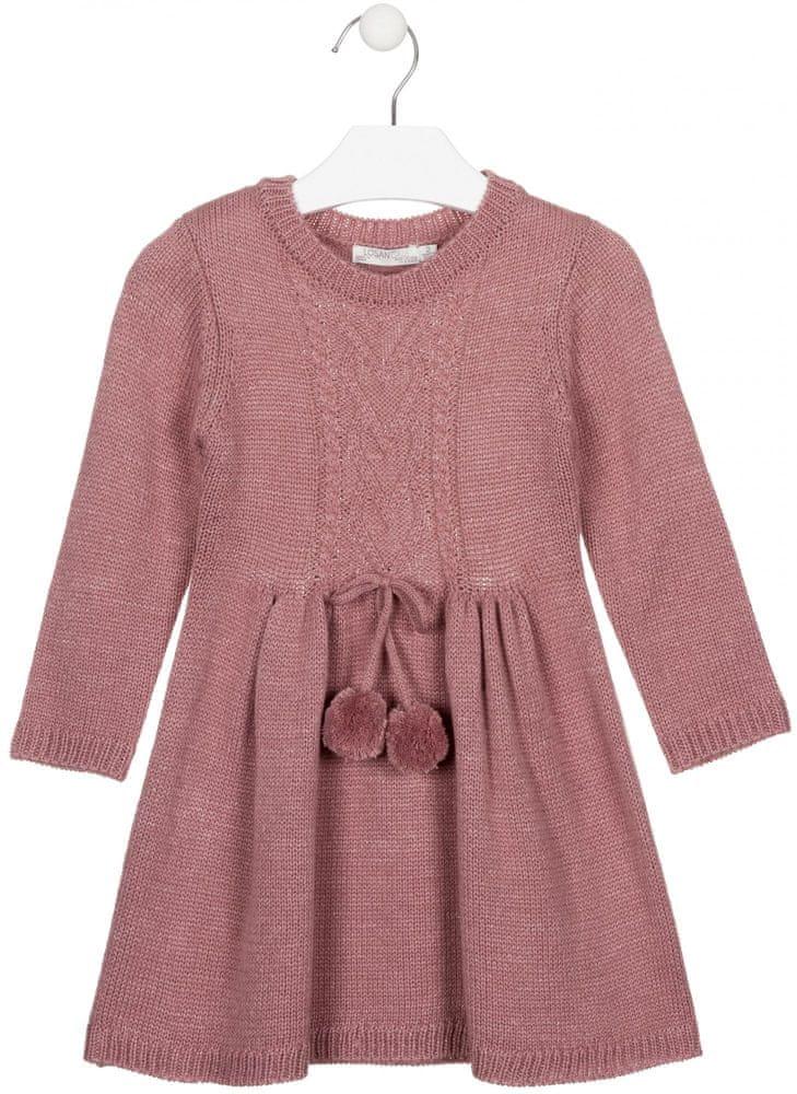 Losan dívčí pletené šaty 98 růžová