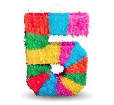 "Piňata číslo "" 5 "" barevná - rozbíjecí, 50x35x7,5 cm"