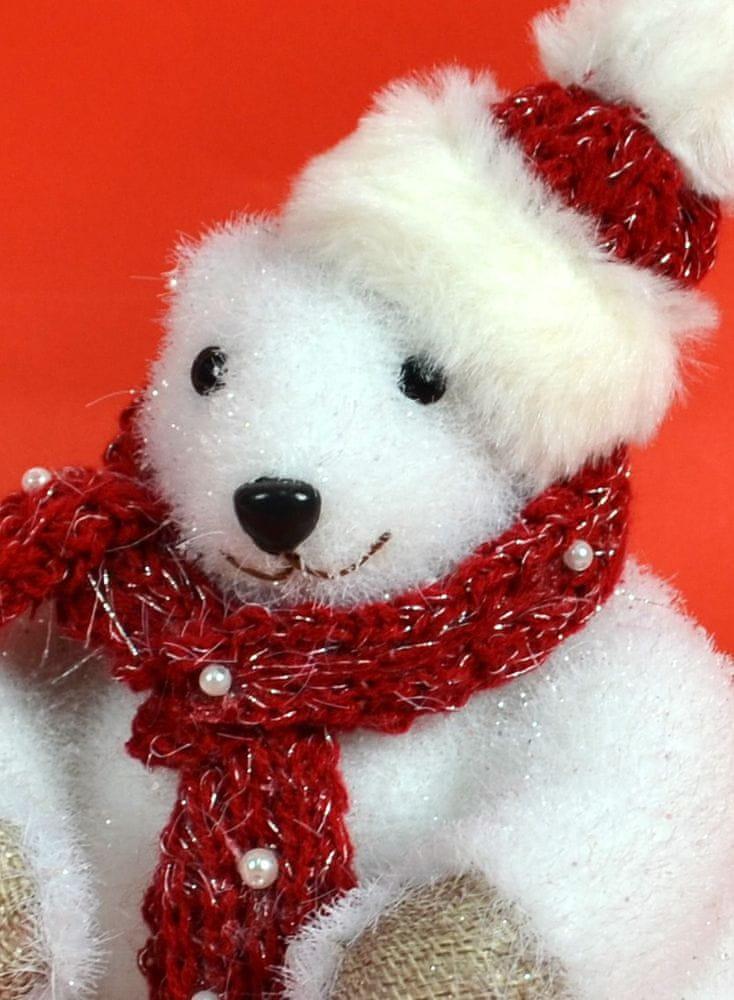 DUE ESSE Vánoční dekorace lední medvěd 16 cm, červená šála