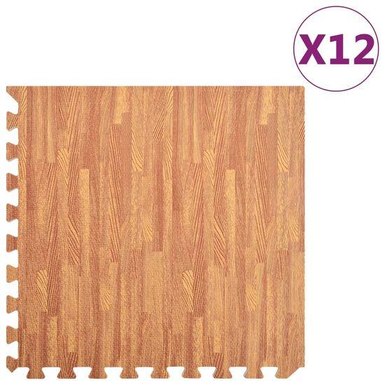 Greatstore Podložky na cvičení 12 ks kresba dřeva 4,23 ㎡ EVA pěna
