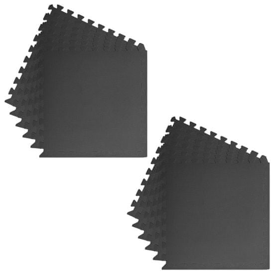 Greatstore Podložky na cvičení 12 ks 4,32 ㎡ EVA pěna černé