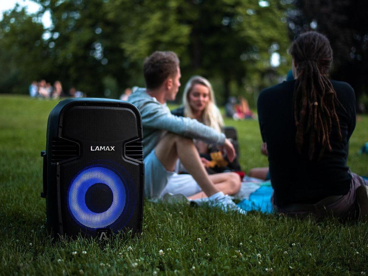 Brezžični Bluetooth zvočnik Lamax PartyBoomBox500 vodoodporen moč 300 W ojačevalnik vhod za mikrofon karaoke