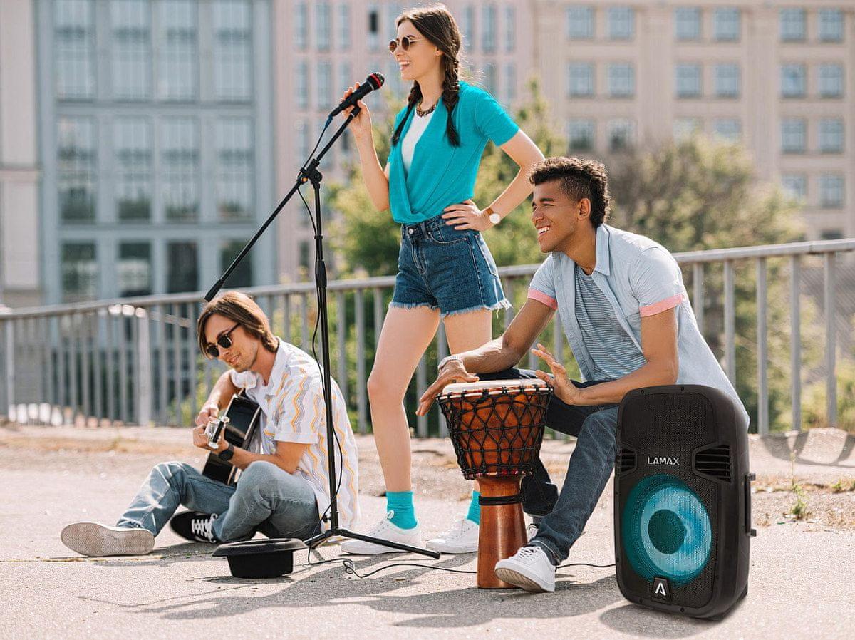 Brezžični Bluetooth zvočnik Lamax PartyBoomBox500 daljinski upravljalnik LED osvetlitev baterija 24 ur fm radio vodoodporen IP54