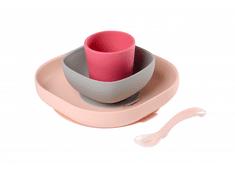 Beaba zestaw naczyń dziecięcych silikonowy, 4 szt. Pink