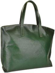 VegaLM Veľká kožená kabelka SHOPPER, ručne farbená a tieňovaná, tmavo zelená farba