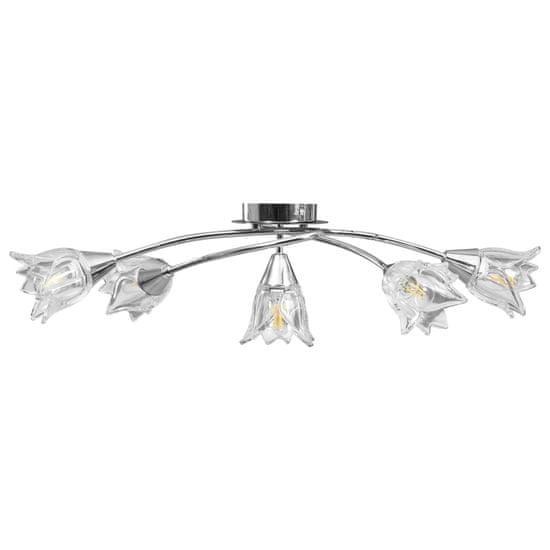 shumee Stropna svetilka s prozornimi senčniki za 5 E14 žarnic tulipan