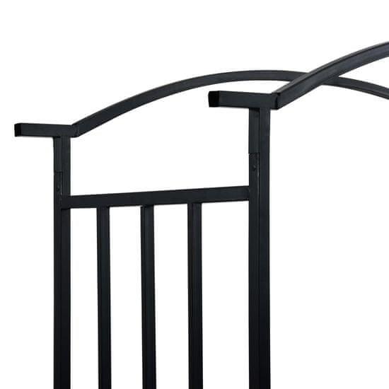 shumee Vrtni obok s klopjo črne barve 128x50x207 cm železo