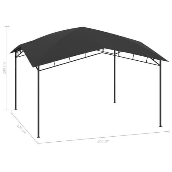 shumee antracitszürke kerti pavilon 4 x 4 x 2,9 m 180 g/m²