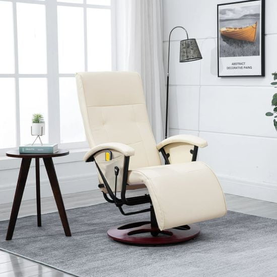 shumee Masažni stol kremno belo umetno usnje