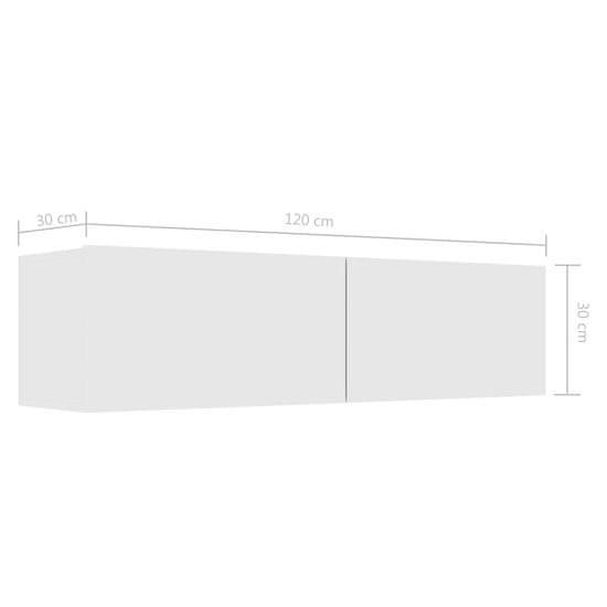 shumee Szafka TV, wysoki połysk, biała, 120x30x30 cm, płyta wiórowa