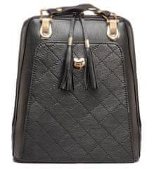 VegaLM Kožený ruksak z pravej hovädzej kože s možnosťou nosenia ako kabelky v čiernej farbe