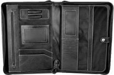 VegaLM Luxusná kožená spisovka s bohatou výbavou v čiernej farbe