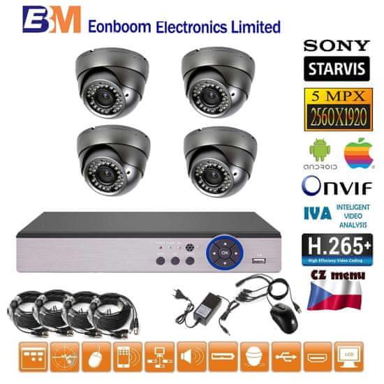 Eonboom 4CH 5MPx STARVIS AHD kamerový set CCTV VR4D - DVR s LAN a 4x venkovní dome kamera