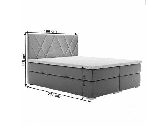 TEMPO KONDELA Postel boxspring, šedá, 180x200, ORA