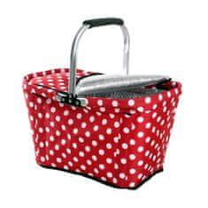 Toro Nákupní košík Bílý puntík TERMO 48x28x28 cm červená
