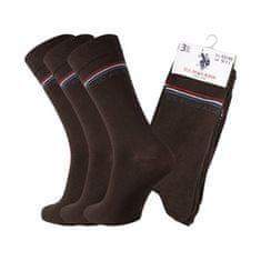U.S. Polo Assn. POLO ASSN. ponožky 3 páry 43-46 hnědá