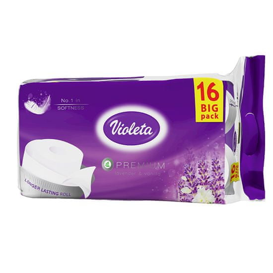 Violeta Premium toaletni papir Sivka, 3-slojni, 16/1