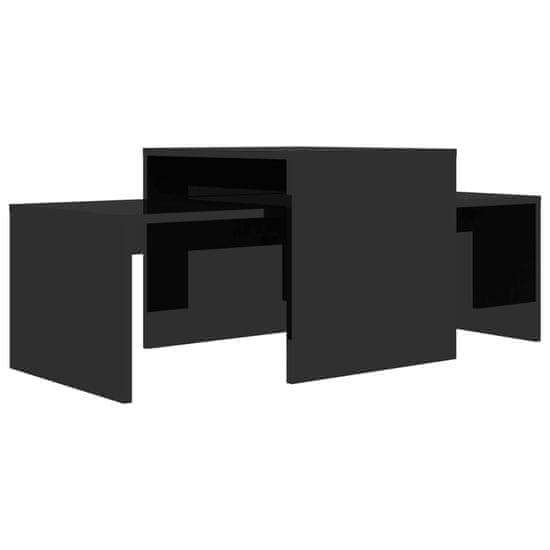 shumee magasfényű fekete forgácslap dohányzóasztal szett 100x48x40 cm