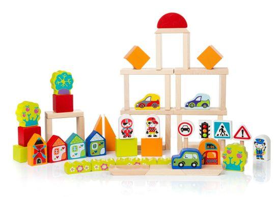CUBIKA 13913 Doprava ve městě - dřevěná stavebnice 55 dílů