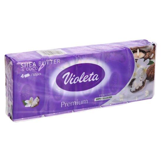Violeta robčki Shea Butter & Coco, 4-slojni, 10 x 10/1