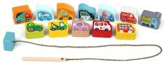 CUBIKA igrača z vrvjo in lesenimi kockami 14316, prevozna sredstva
