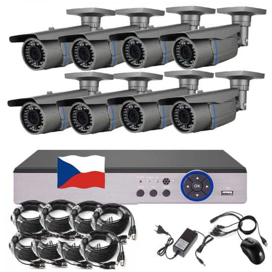 Eonboom 8CH STARVIS kamerový set CCTV VR8B s DVR s LAN a 8x vari bullet kamerou
