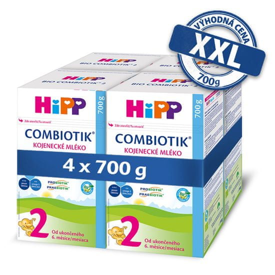 HiPP 2 BIO Combiotik Následná mliečna dojčenská výživa 4x700 g
