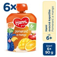 Hami Vrecúško pomaranč a mango 6x90g EXPIRÁCIA 09/2021