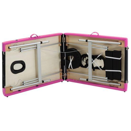 shumee kétzónás fekete és rózsaszín összecsukható alumínium masszázsasztal