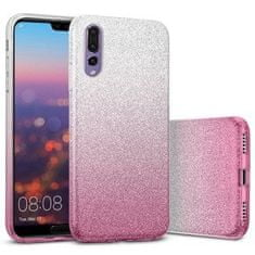 ovitek Bling 2v1 za Huawei P40 Pro, silikonski, z bleščicami, srebrno roza